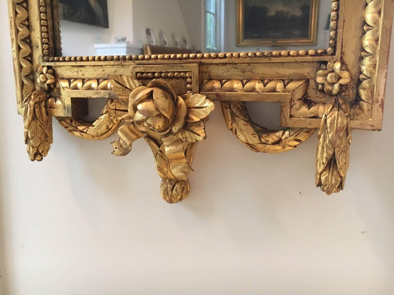 Swedish Gustavian Style Carved Giltwood Mirror For Sale 5
