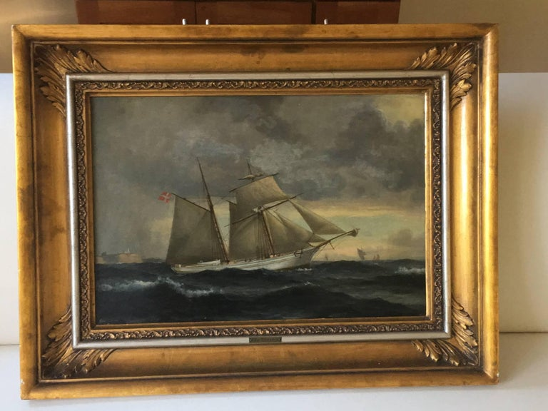 Danish Ship Portrait of Schooner 'Kaerteminde' by Christian Vigilius Blache In Good Condition For Sale In Cold Spring, NY