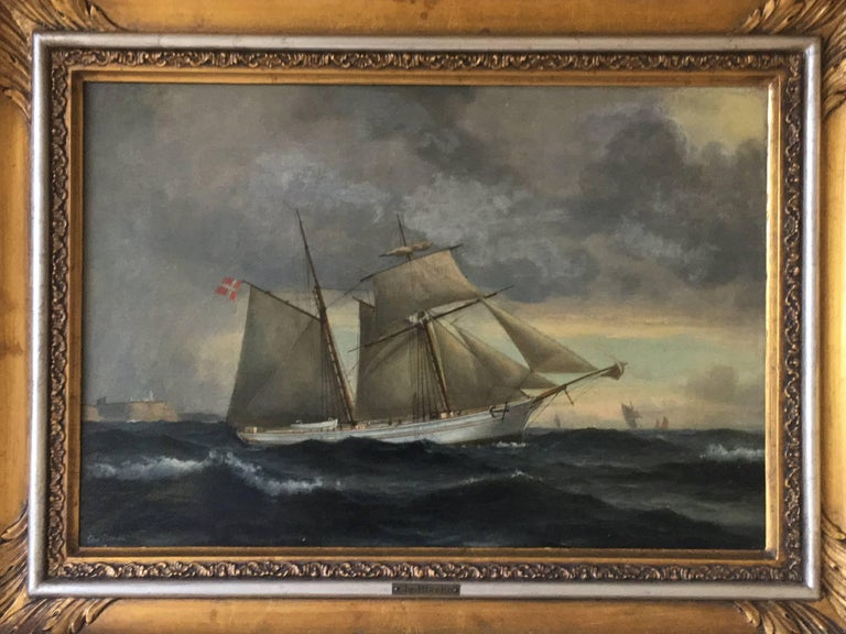 Danish Ship Portrait of Schooner 'Kaerteminde' by Christian Vigilius Blache For Sale 3