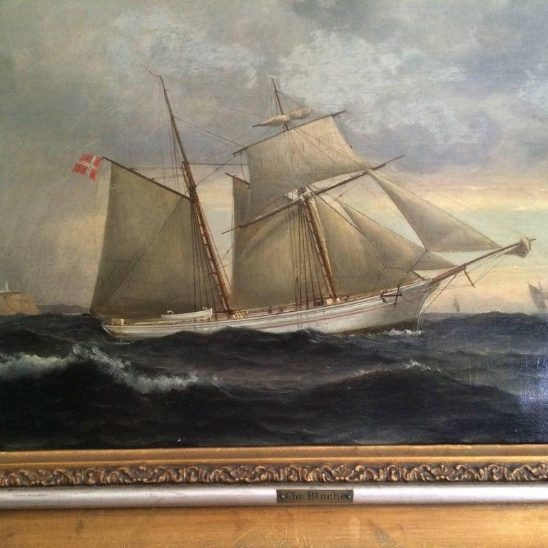 Canvas Danish Ship Portrait of Schooner 'Kaerteminde' by Christian Vigilius Blache For Sale