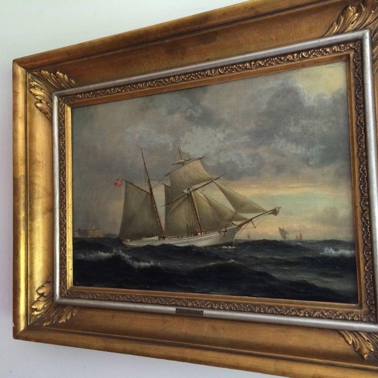 19th Century Danish Ship Portrait of Schooner 'Kaerteminde' by Christian Vigilius Blache For Sale