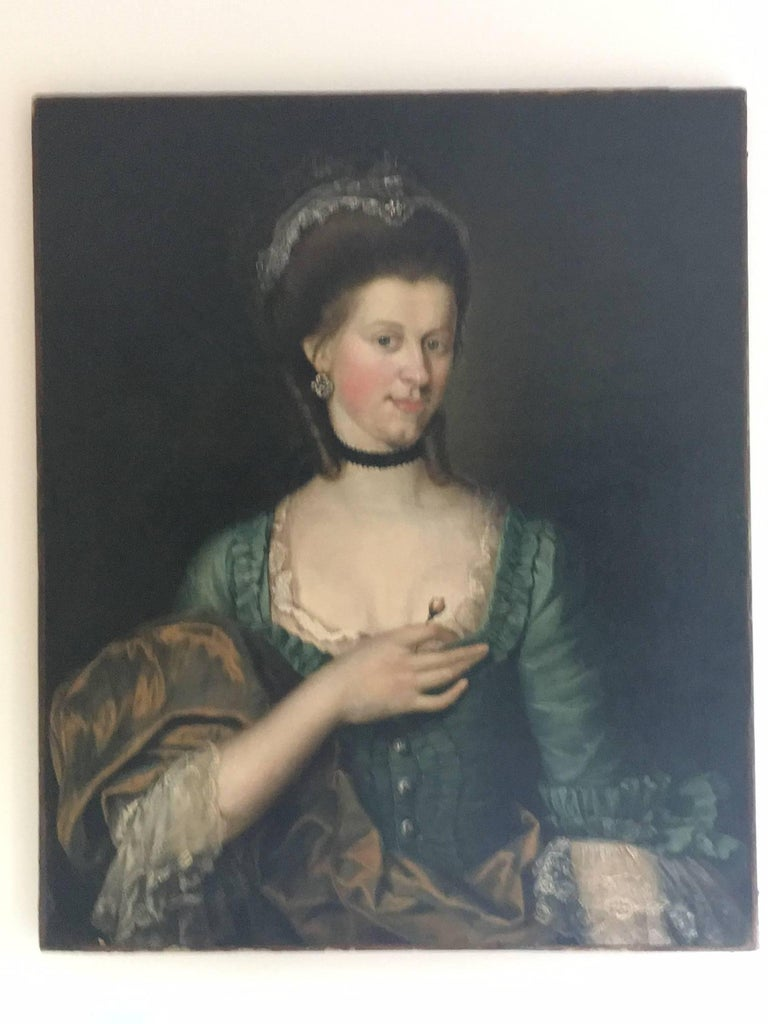 Unusually beautiful and very fine 18th century Old Master oil portrait of young lady with a rose. In the manner of well-known Danish portrait artist Jens Juel. Artist and provenance behind this mysterious and alluring young woman remain unknown.  On