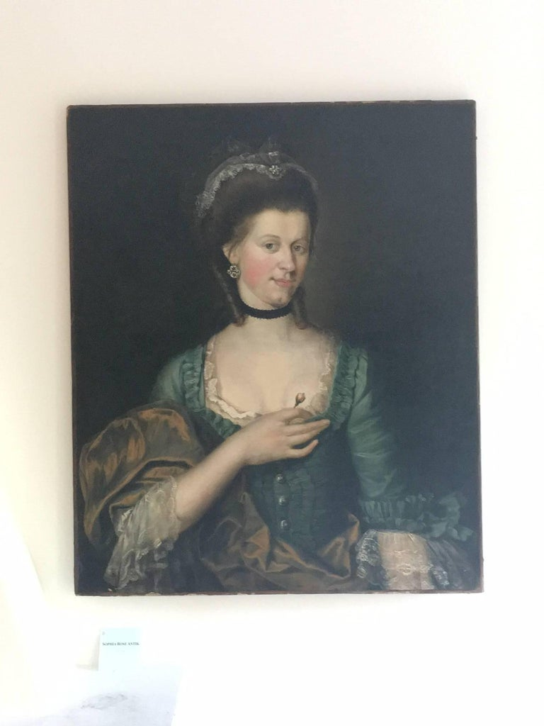 Other 18th Century Old Master Portrait of a Young Woman with a Rose For Sale