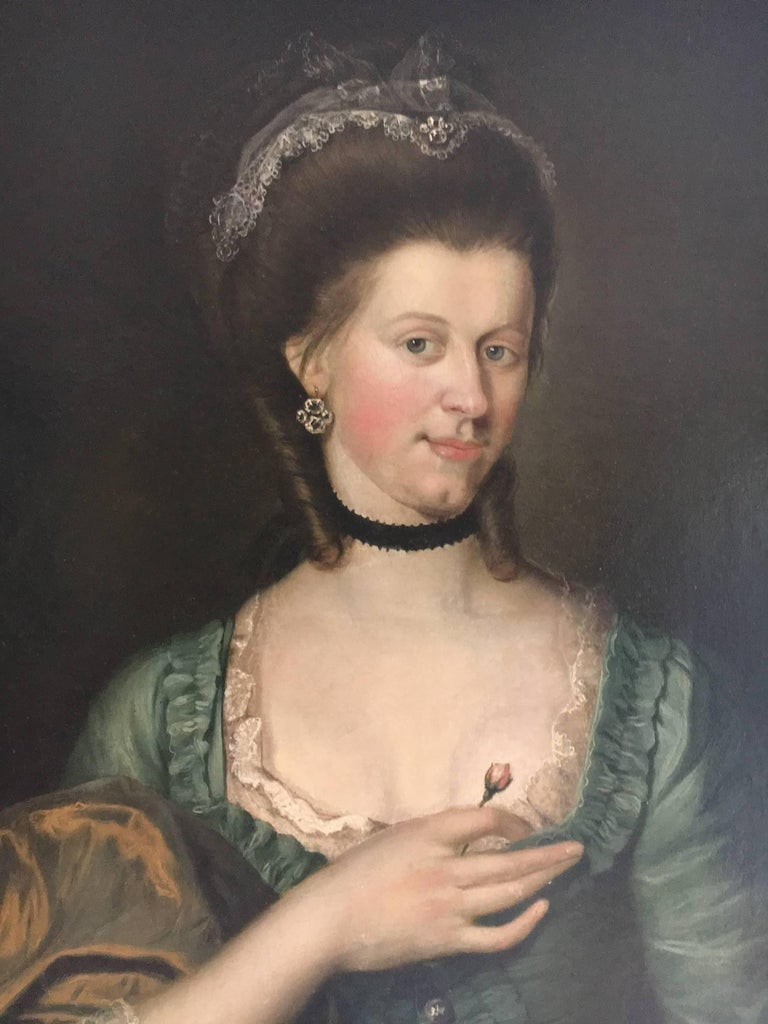 Danish 18th Century Old Master Portrait of a Young Woman with a Rose For Sale
