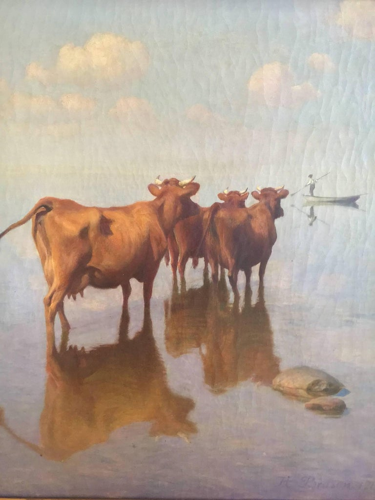 Cows and Fisherman Painting by Hans Brasen In Good Condition For Sale In Cold Spring, NY