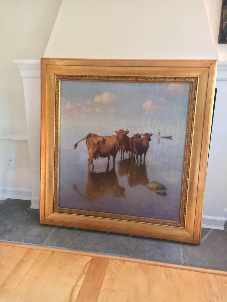 Cows and Fisherman Painting by Hans Brasen For Sale 2