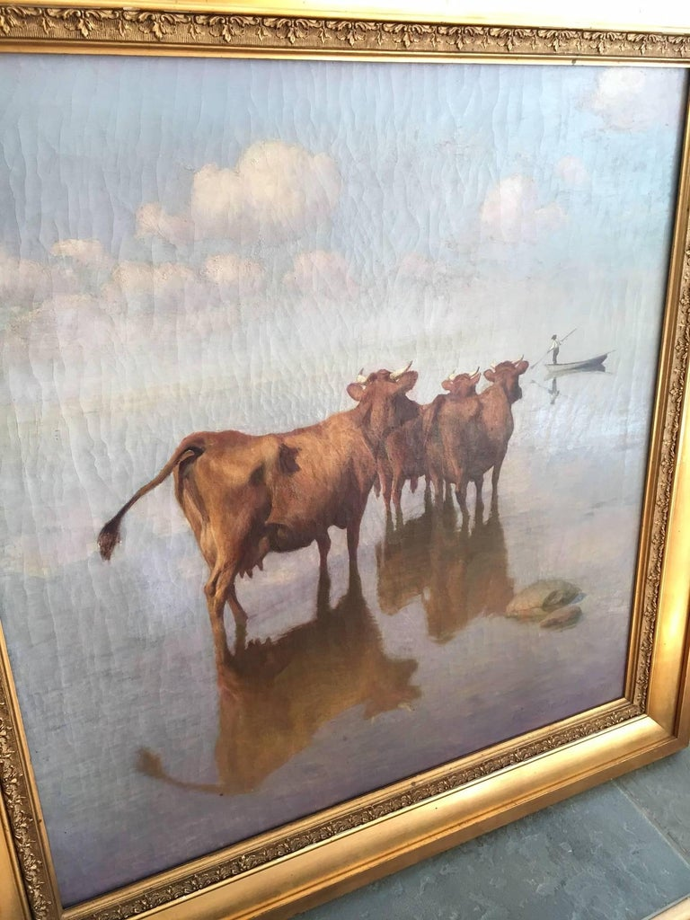Giltwood Cows and Fisherman Painting by Hans Brasen For Sale