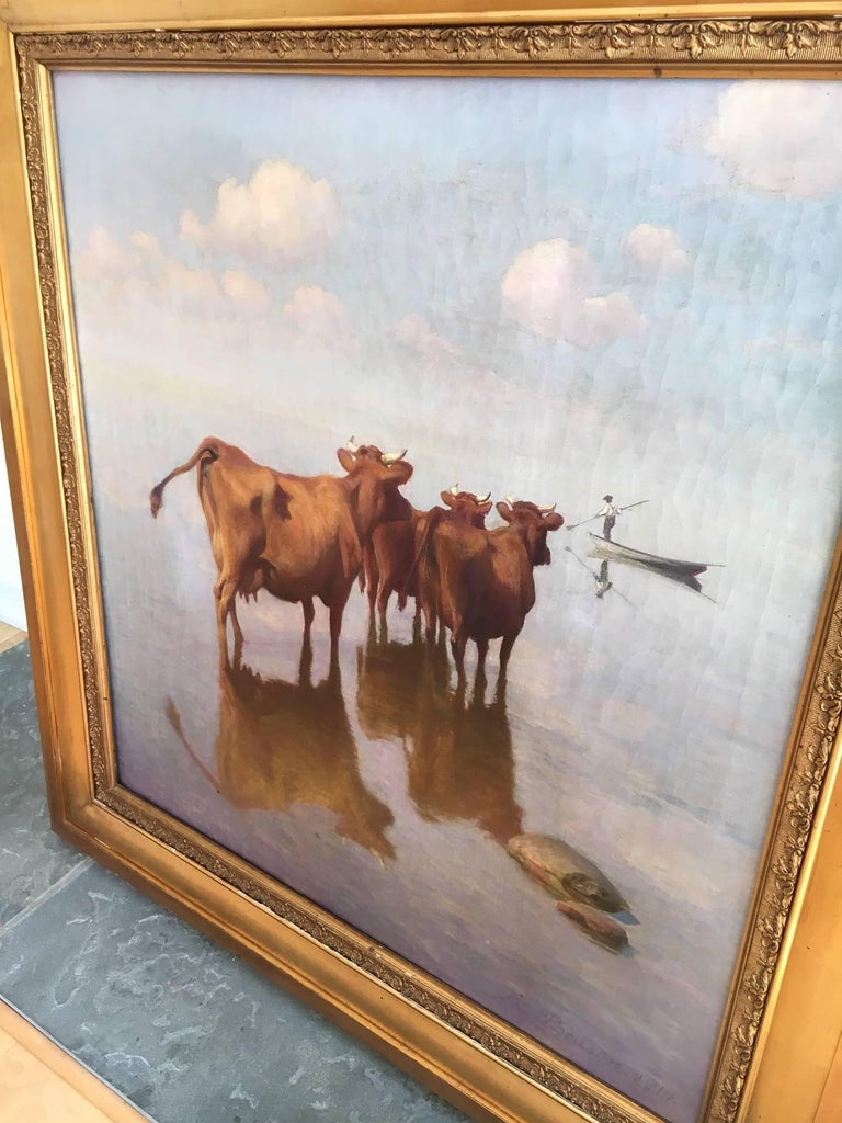 Cows and Fisherman Painting by Hans Brasen For Sale 1