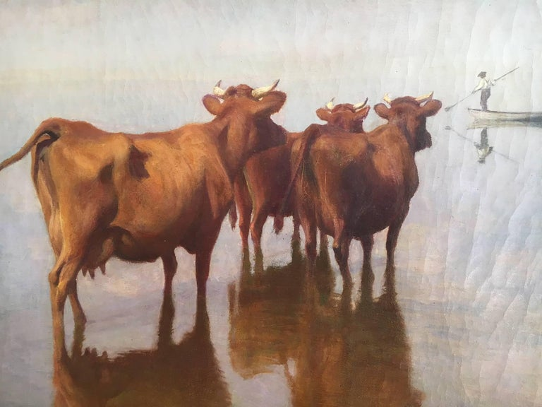 Early 20th Century Cows and Fisherman Painting by Hans Brasen For Sale