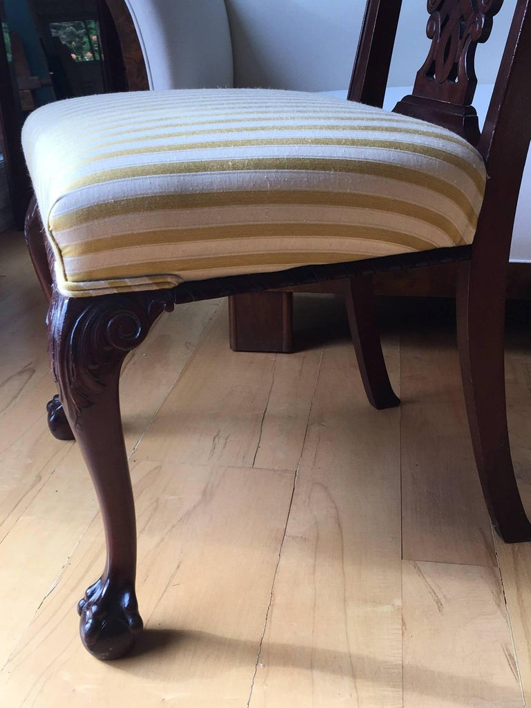 Mahogany 19th Century Danish Chippendale Style Side Chairs For Sale