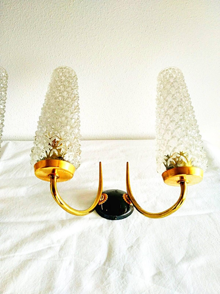 Mid-Century Modern Arlus mid-century sconce glass pair gilt frame french, 1950 For Sale