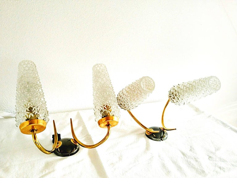 Mid-20th Century Arlus mid-century sconce glass pair gilt frame french, 1950 For Sale