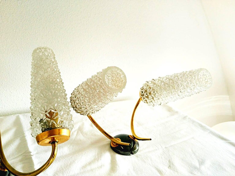 Glass Arlus mid-century sconce glass pair gilt frame french, 1950 For Sale