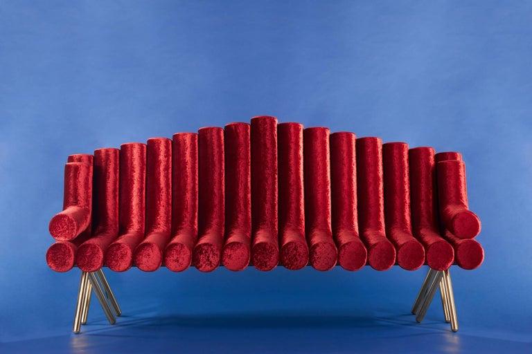 Modern Red Velvet Sofa With Brass Legs For Sale