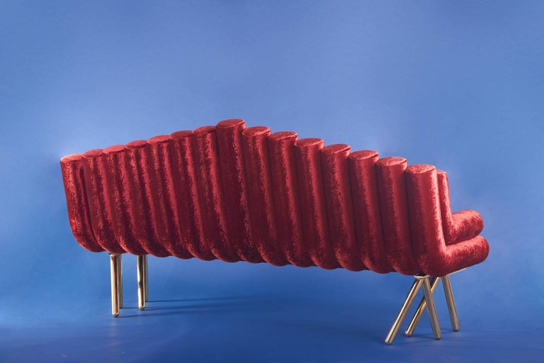 Polished Red Velvet Sofa With Brass Legs For Sale