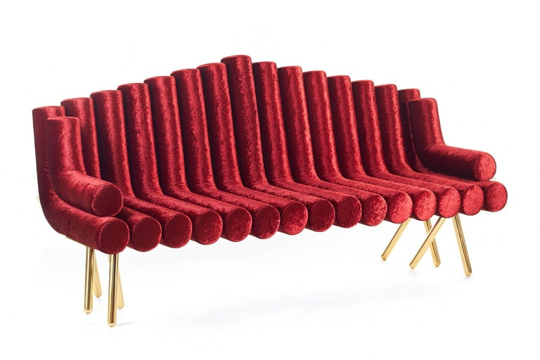 Contemporary Red Velvet Sofa With Brass Legs For Sale