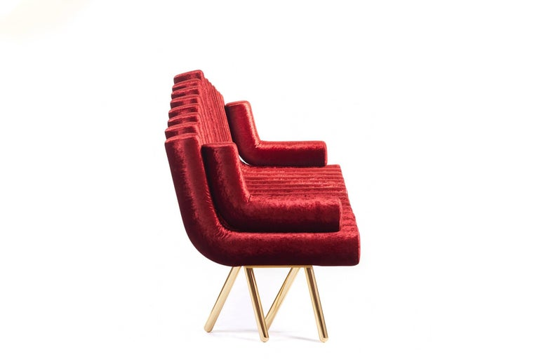 Red Velvet Sofa With Brass Legs For Sale 1