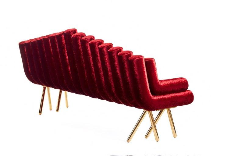 Red Velvet Sofa With Brass Legs For Sale 2