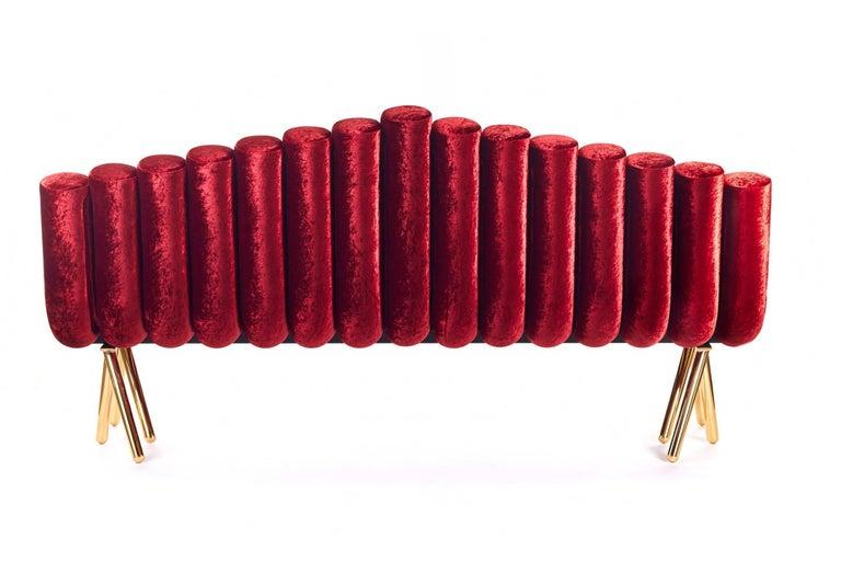 Red Velvet Sofa With Brass Legs For Sale 3