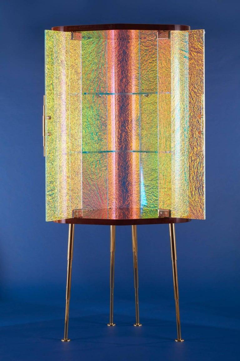 Canadian 21st Century Custom Contemporary Honduran Mahogany Solid Brass Crazy Glass Bar For Sale
