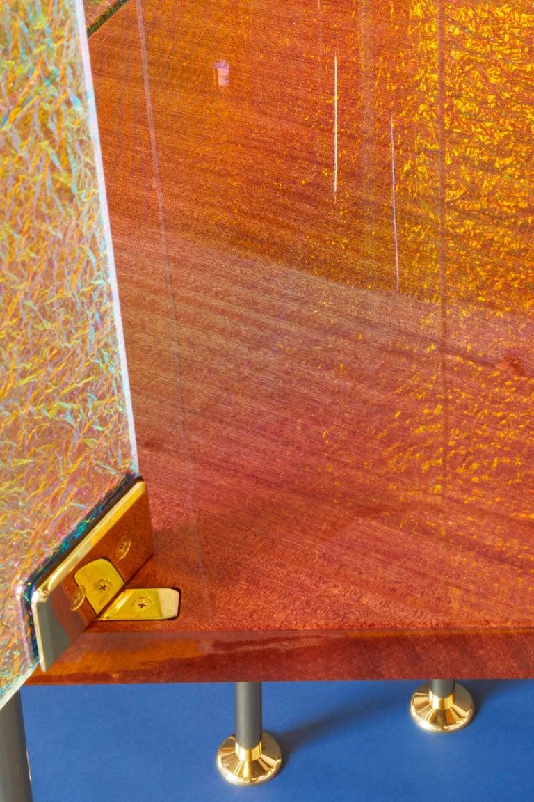 21st Century Custom Contemporary Honduran Mahogany Solid Brass Crazy Glass Bar For Sale 3
