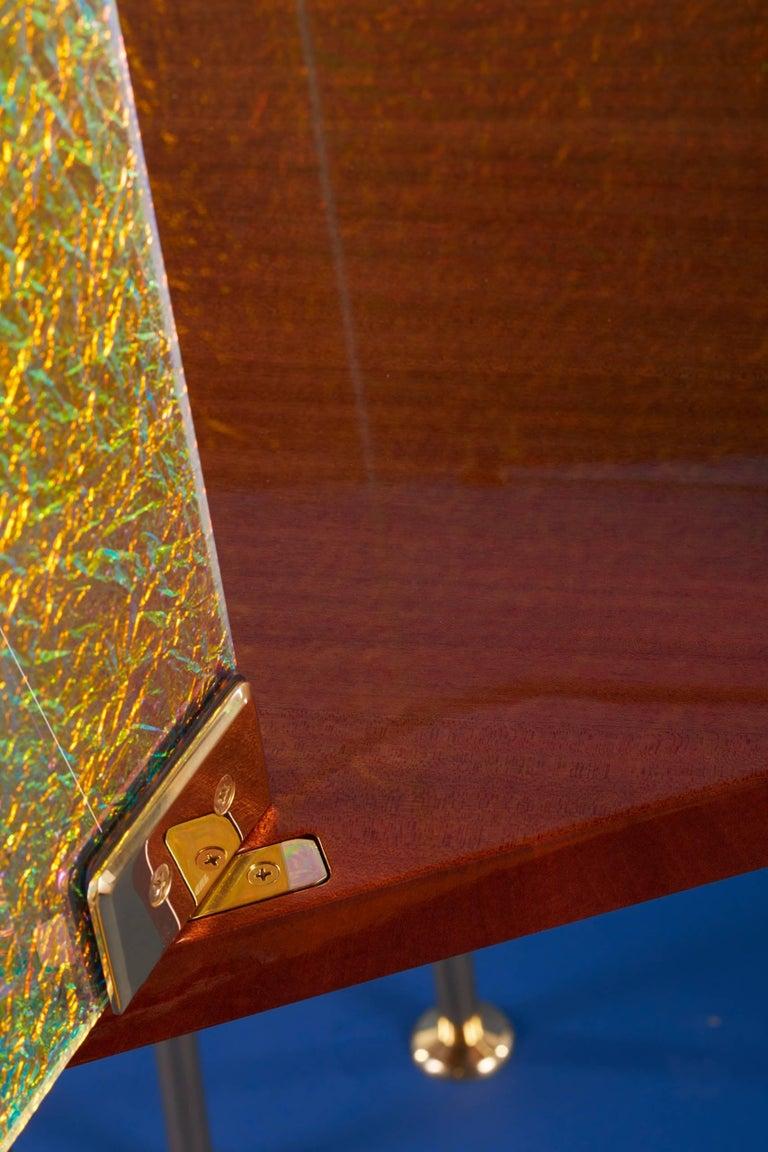 21st Century Custom Contemporary Honduran Mahogany Solid Brass Crazy Glass Bar For Sale 4