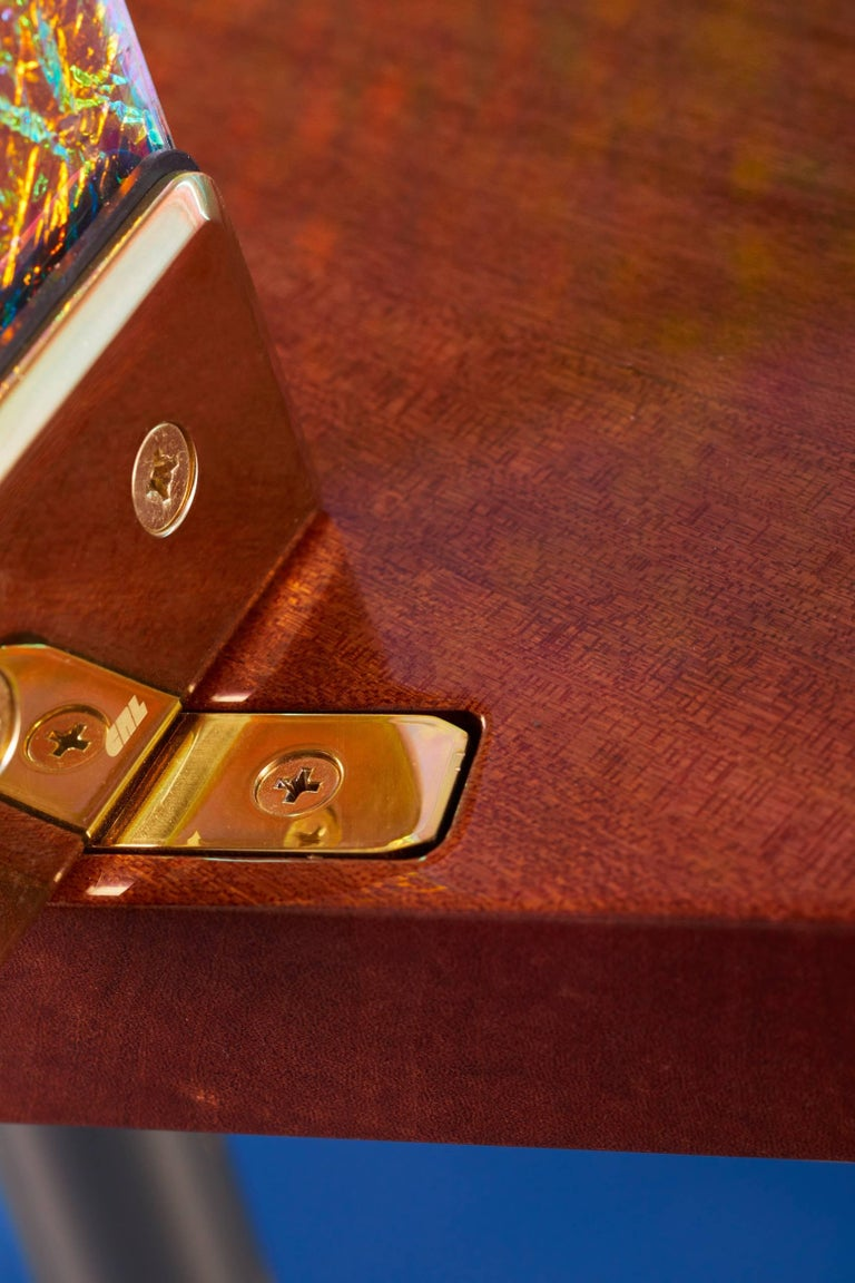 21st Century Custom Contemporary Honduran Mahogany Solid Brass Crazy Glass Bar For Sale 5