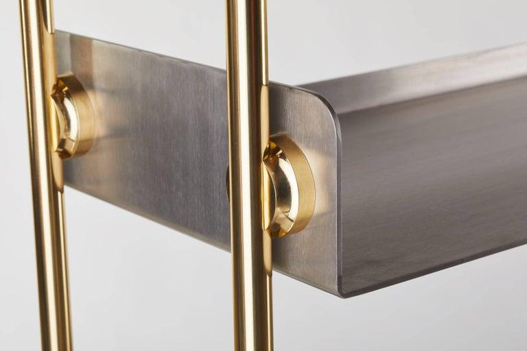 Canadian 21st Century Custom Handmade Contemporary Solid Brass Stainless Steel Bookshelf For Sale