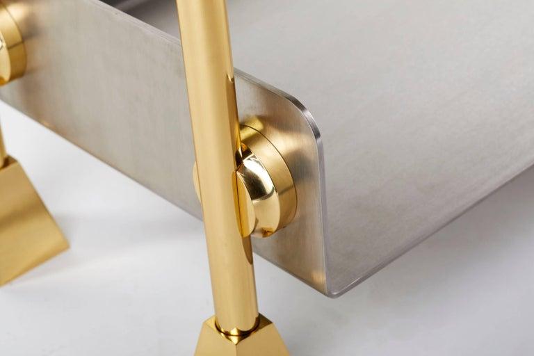 Modern 21st Century Custom Handmade Contemporary Solid Brass Stainless Steel Bookshelf For Sale