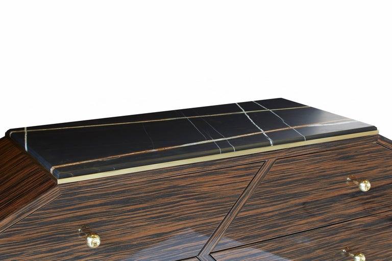 21st Century Custom Handmade Art Deco Macassar Ebony Brass & Marble Sideboard   BB10 Sideboard / Dresser Contemporary and modern this Art Deco inspired sideboard / dresser is custom-made by hand and designed by Troy Smith. Macassar Ebony is