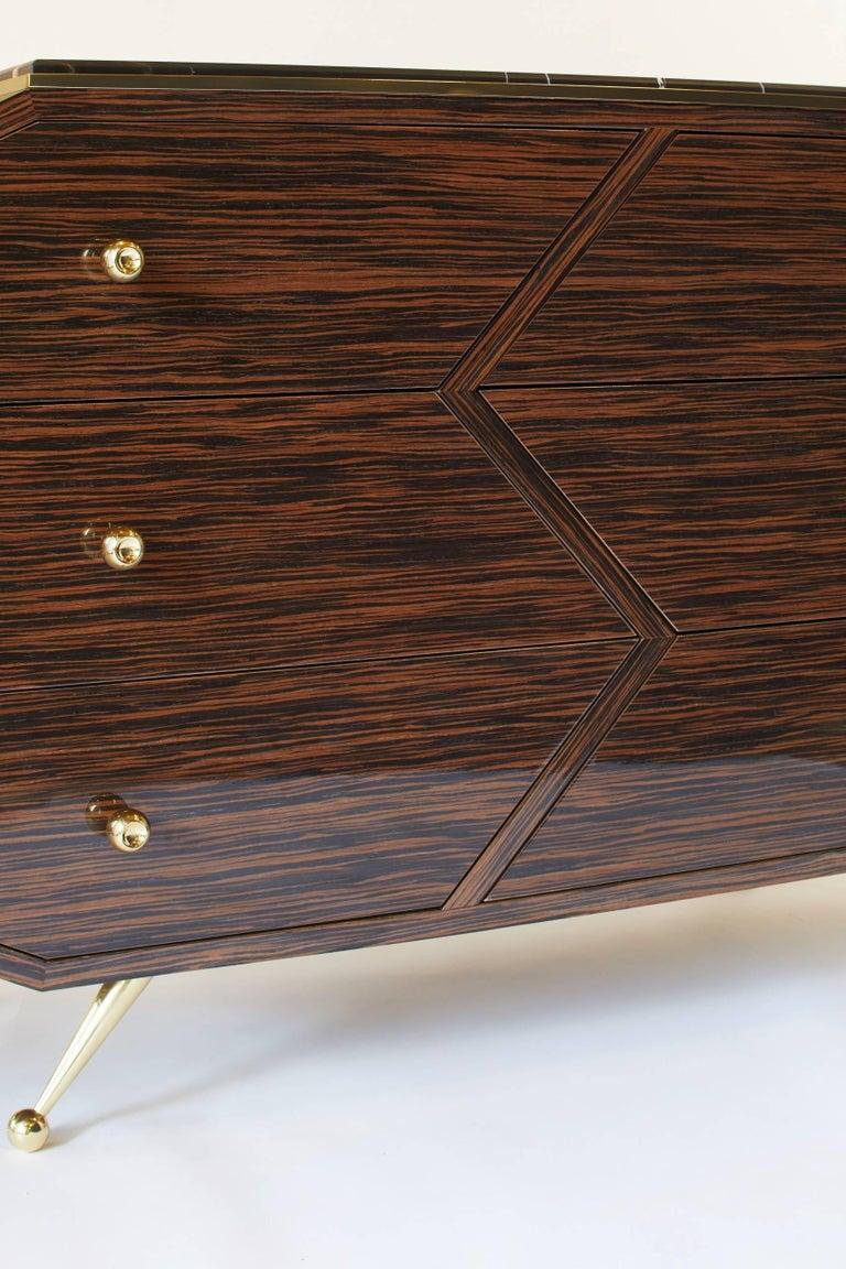 Beveled 21st Century Custom Handmade Art Deco Macassar Ebony Brass & Marble Sideboard  For Sale