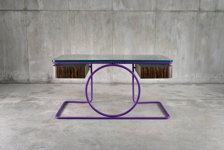 Canadian 21st Century Contemporary Steel Frame Macassar Ebony Glass Custom Handmade Desk For Sale