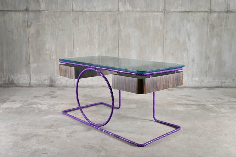 Modern 21st Century Contemporary Steel Frame Macassar Ebony Glass Custom Handmade Desk For Sale
