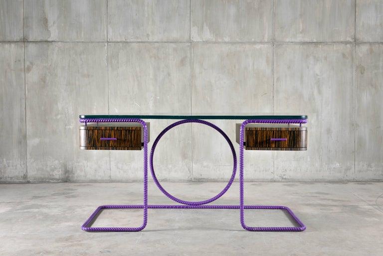 Fired 21st Century Contemporary Steel Frame Macassar Ebony Glass Custom Handmade Desk For Sale