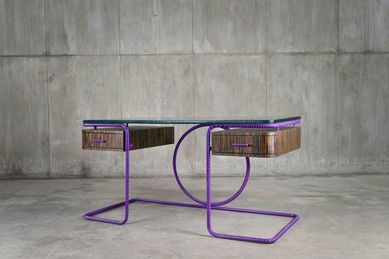21st Century Contemporary Steel Frame Macassar Ebony Glass Custom Handmade Desk In New Condition For Sale In Toronto, Ontario