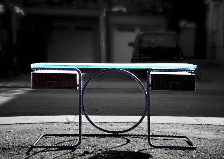 21st Century Contemporary Steel Frame Macassar Ebony Glass Custom Handmade Desk For Sale 1
