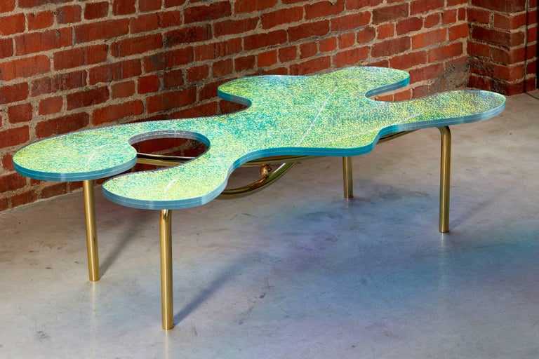 Modern Contemporary Brass Coffee Table With Dichroic Multi Colour Glass For Sale