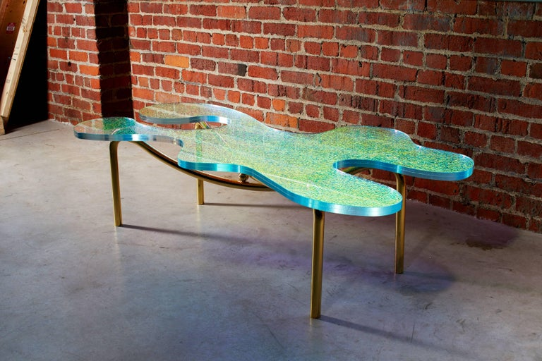 Canadian Contemporary Brass Coffee Table With Dichroic Multi Colour Glass For Sale