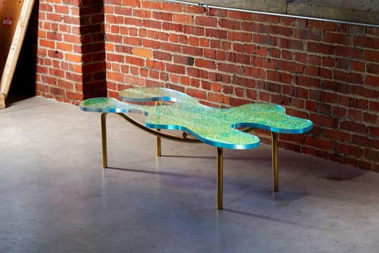 Contemporary Brass Coffee Table With Dichroic Multi Colour Glass In New Condition For Sale In Toronto, Ontario
