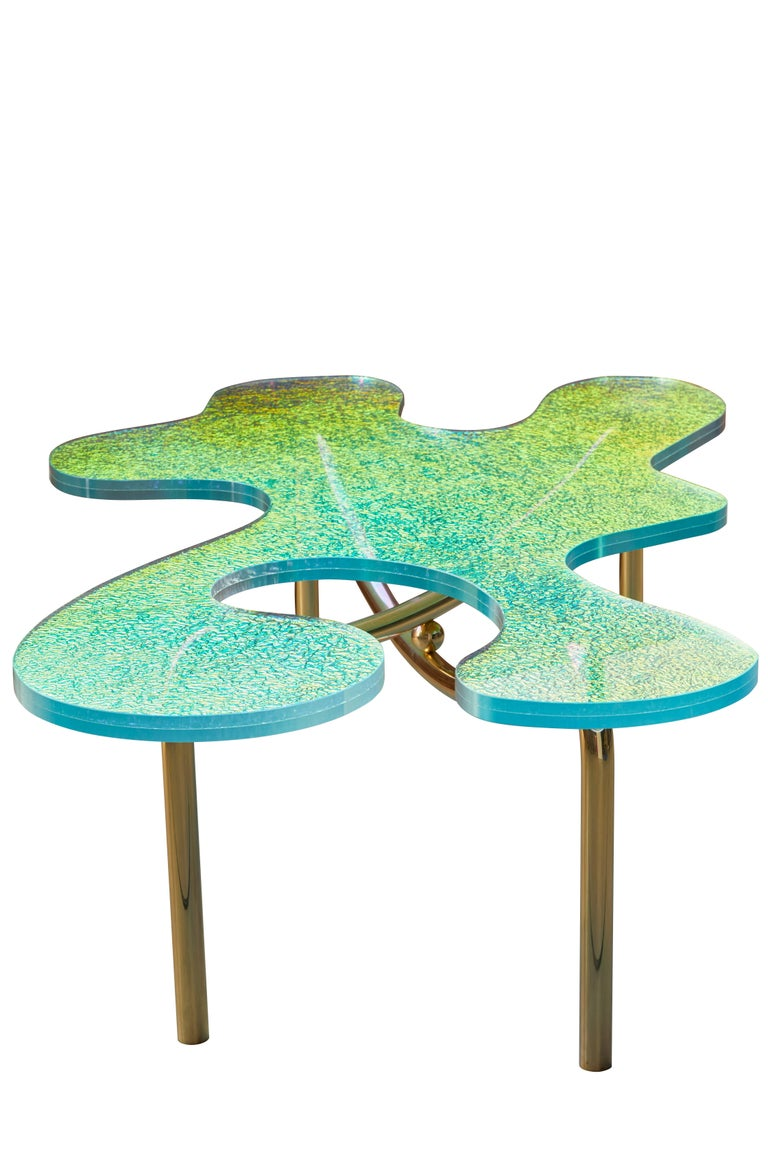 Contemporary Brass Coffee Table With Dichroic Multi Colour Glass For Sale 3
