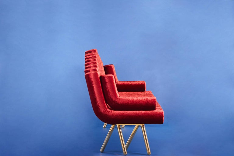 Polished 21st Century Custom Handmade Contemporary Velvet and Solid Brass Leg Sofa For Sale