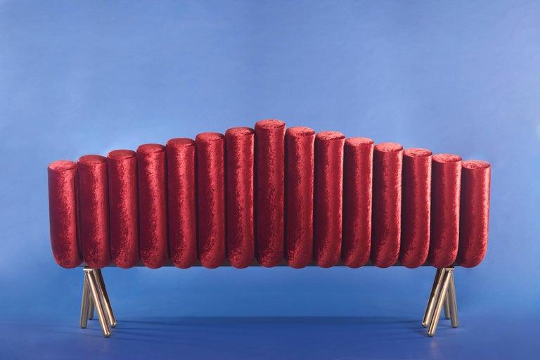 21st Century Custom Handmade Contemporary Velvet and Solid Brass Leg Sofa For Sale 1