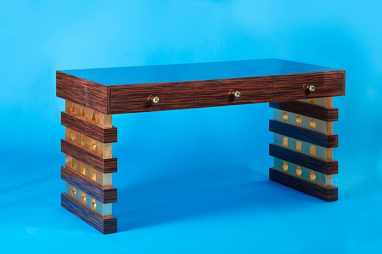 Art Deco 21st Century Custom Handmade Contemporary Macassar Ebony, Gold Gilt & Brass Desk For Sale