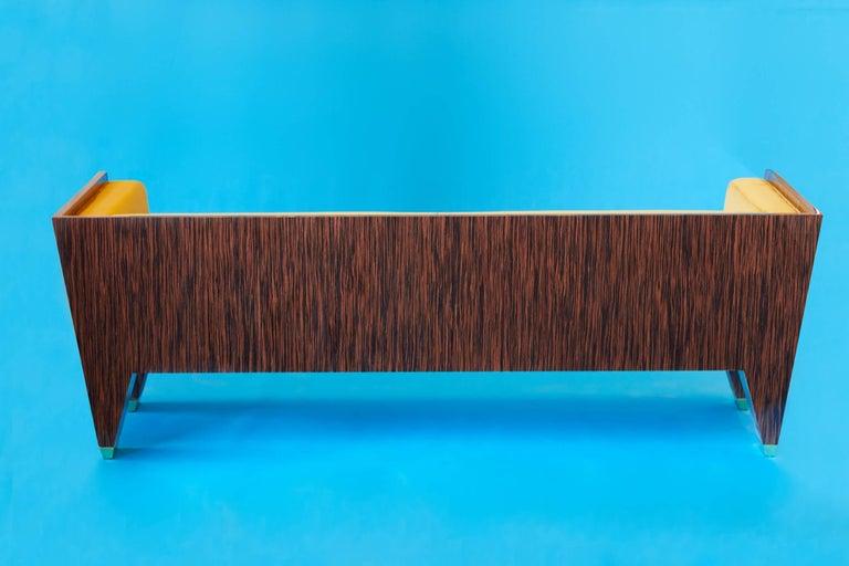 Lacquered 21st Century Handmade Custom Art Deco Sofa with Brass Feet & Velvet Upholstery For Sale