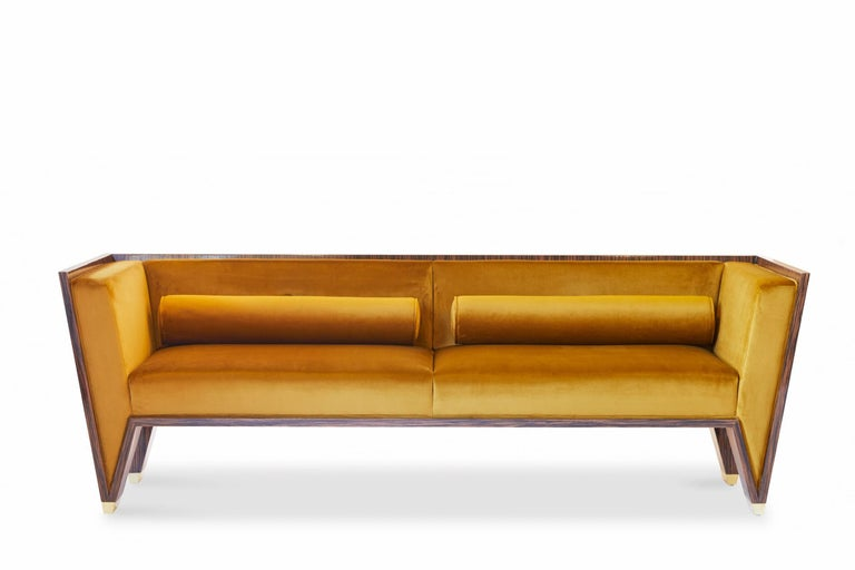 Polished Macassar Ebony Sofa With Gold Velvet Upholstery and Brass Feet For Sale