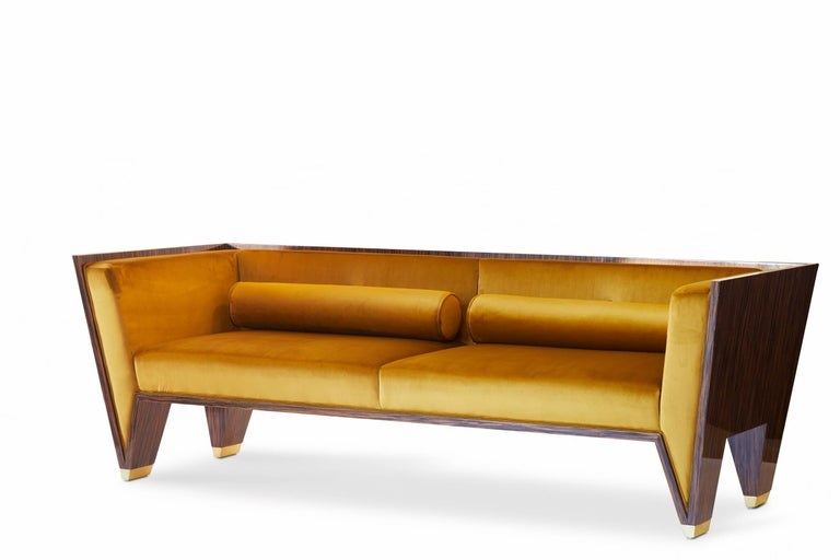 Macassar Ebony Sofa With Gold Velvet Upholstery and Brass Feet In New Condition For Sale In Toronto, Ontario