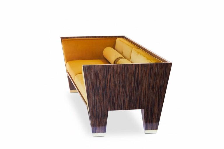 21st Century Handmade Custom Art Deco Sofa with Brass Feet & Velvet Upholstery For Sale 1