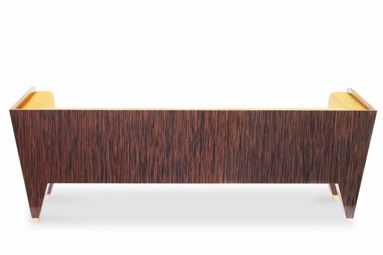 21st Century Handmade Custom Art Deco Sofa with Brass Feet & Velvet Upholstery For Sale 2