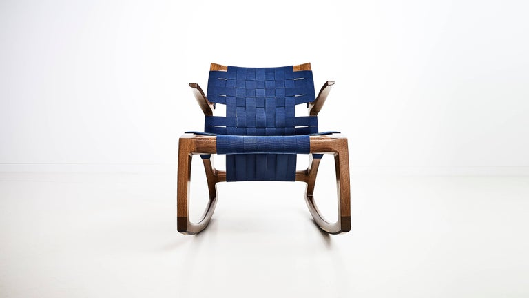 Bleached Maple Wood Luna Rocking Chair with Webbed Seat by Goebel In New Condition For Sale In Saint Louis, MO