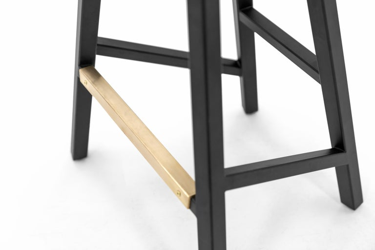 Woodwork Modern Bar Counter Stool in Wood with Brass by Goebel For Sale